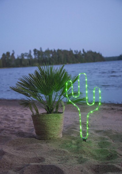 LED-Mini-Lichtschlauch 5m grüner Kaktus- outdoor - 38 LEDs - Batteriebox - Timer