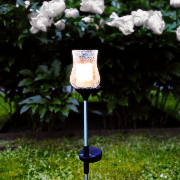 """LED Solarstab """"Lyon"""" - klares Glas - gelbe LED - H: 52cm - D: 7cm - Dämmerungssensor"""