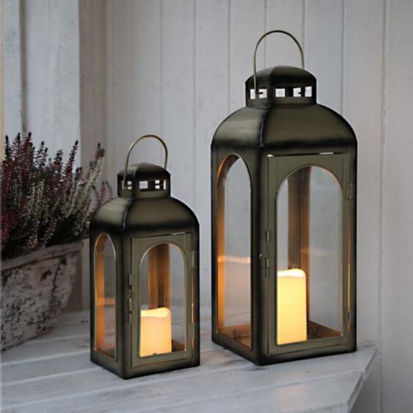 LED-Laterne | Dome | 1x LED-Kerze | flackernde LED | ↑43cm