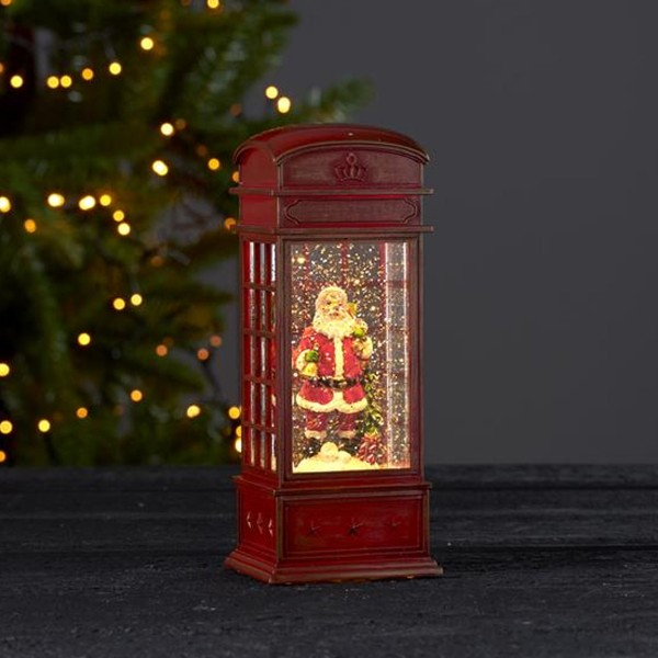 "LED Laterne ""Winter"" - Telefonzelle mit Weihnachtsmann - glitzernde Flocken - H: 22cm - Batterie"