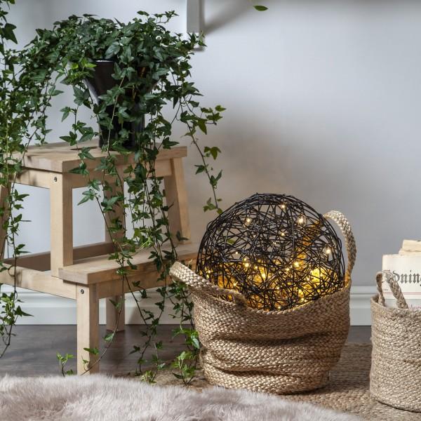 LED 3D Designkugel TRASSEL - Drahtkugel - D: 37,5cm - 100 warmweiße LED - Indoor/Outdoor - schwarz