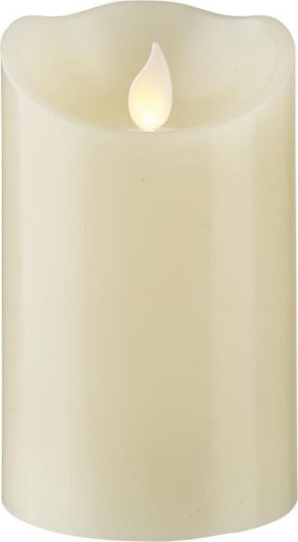 LED-Kerze | Echtwachs | Twinkle | mechanisch bewegte Flamme | Timer | Creme | →7.5cm | ↑12,5cm