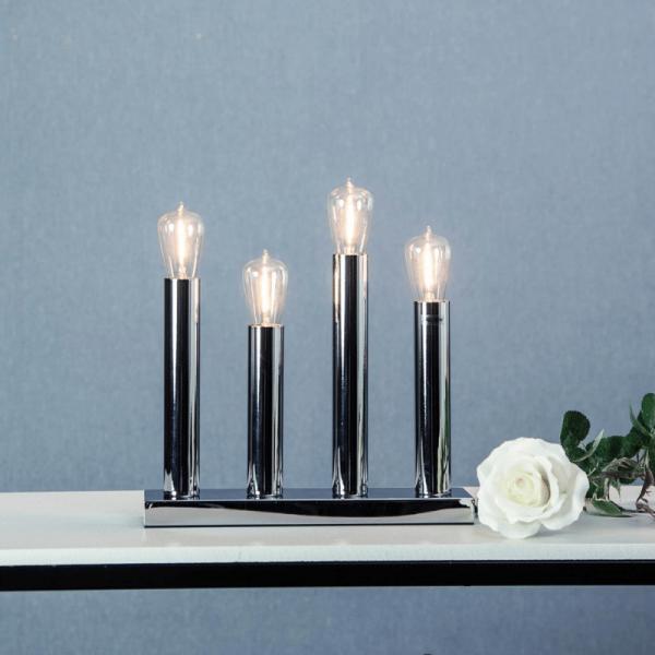 "LED Tischleuchte - Standleuchte ""Glans"" - E14 - inkl. Leuchtmittel - H: 28cm, L: 27cm - silber"