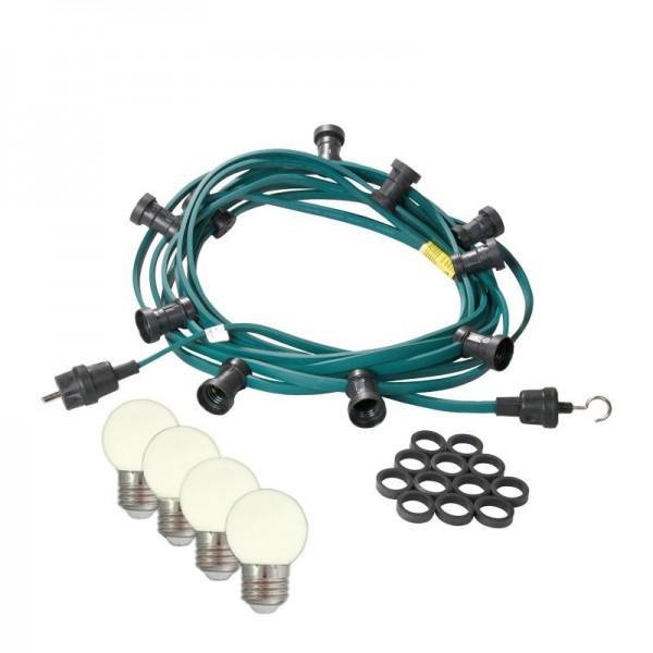 Illu-/Partylichterkette | E27-Fassungen | Made in Germany | mit weißen LED-Lampen | 40m | 40x E27-Fassungen