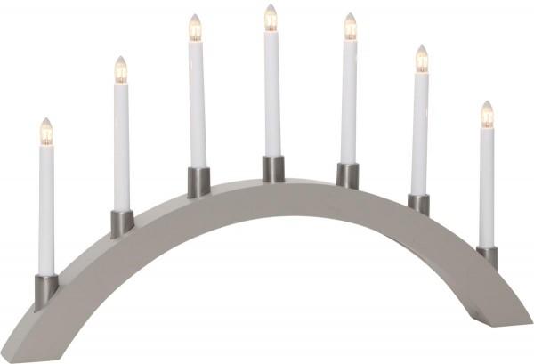 Lichterbogen TALL - 7 warmweiße Glühlampen - L: 67cm, H: 40cm - Holz - Schalter - Grau