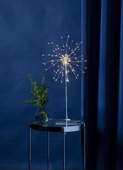 "3D-LED-Standstern ""Firework"" - 120 warmweiße LED - silber - Material: Metall - H: 50 cm, D: 26 cm"