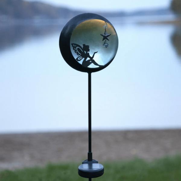 "LED Solarstab ""Fairy""- schwarz - warmweiße LED - blaue Kugel - H: 76cm - Dämmerungssensor"