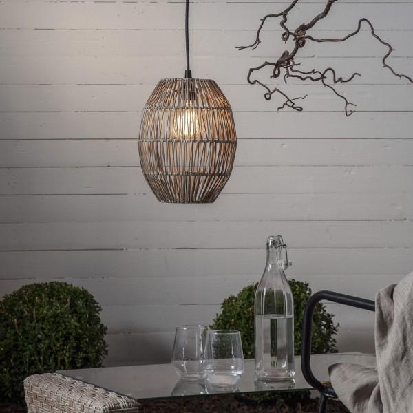 Dekoleuchte/Lampenschirm aus Rattan - D: 24cm, H: 30cm - für E27 Fassungen - outdoor - beige
