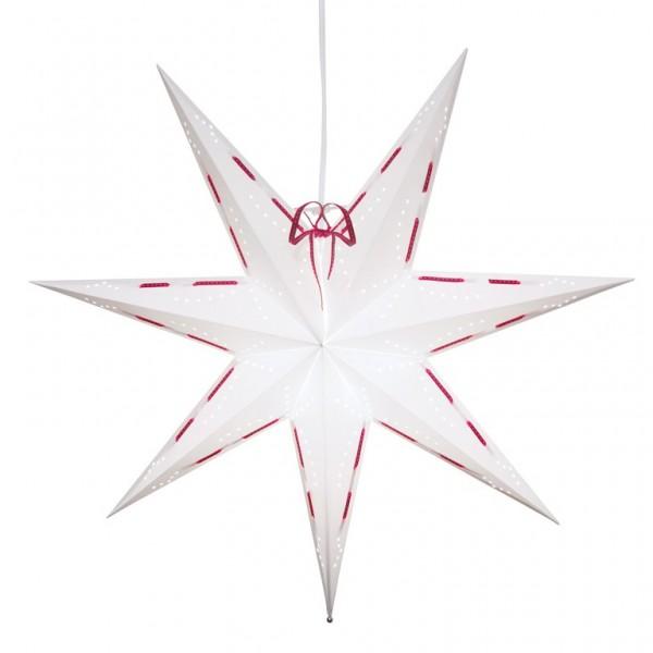 """Papierstern """"Vira"""" - hängend - 7-zackig - Ø 60cm - E14 Fassung - inkl. Kabel - weiß/rot"""