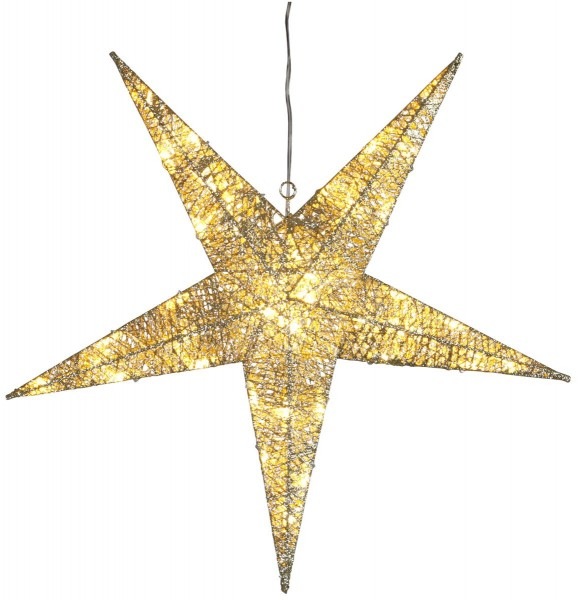 "LED-Stern ""Sequini"" - 48 warmweiße LEDs - D: 55cm - goldene Baumwollfäden - Outdoor"
