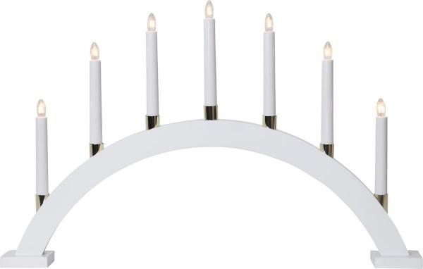 Lichterbogen GILLIAN - 7 warmweiße Glühlampen - L: 63cm, H: 40cm - Holz - Schalter - Weiß