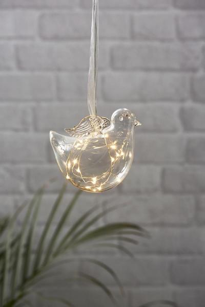 Vogel aus Glas - hängend - 15 warmweiße LED auf silbernem Draht - Batterie - Timer - Transparent