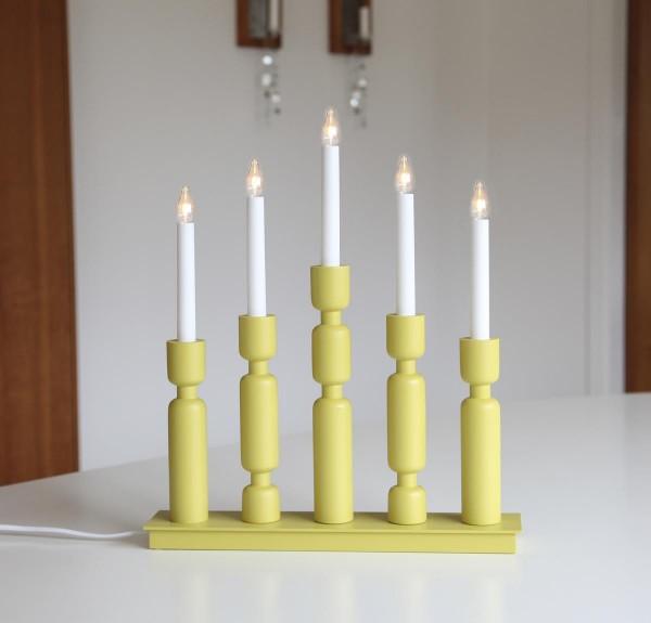 """Fensterleuchter """"Uddebo"""" - 5flammig - warmweiße LEDs - H: 44cm, L. 37cm - Schalter - Gelb"""