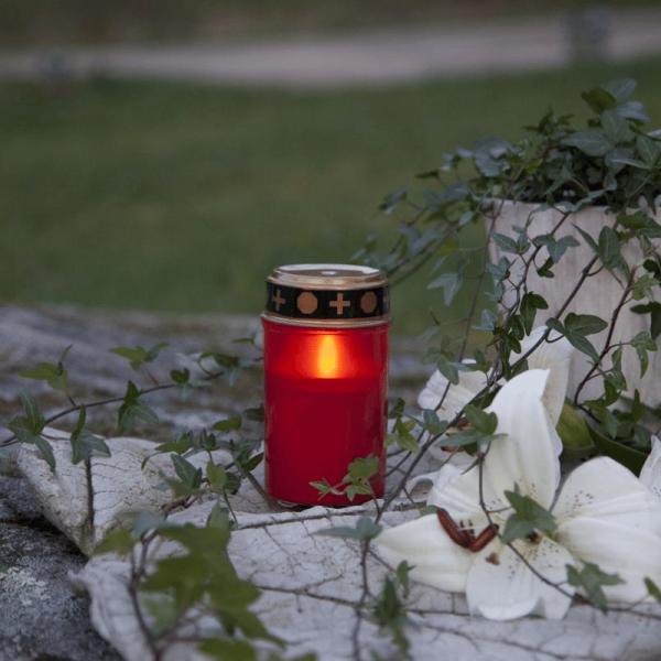 LED Grablicht - Grabkerze - gelbe LED - H: 12cm - Timer - outdoor - rot mit Deckel