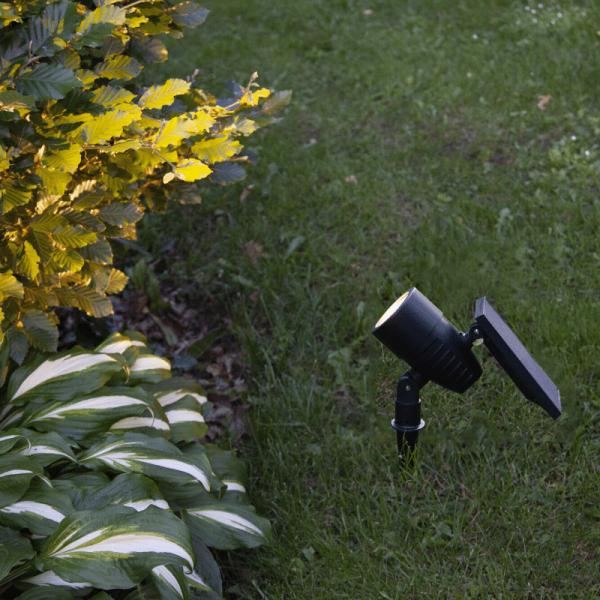 LED Solar Gartenspot - warmweiss - Gartenspieß - Solarpanel - Dämmerungssensor - H: 21cm