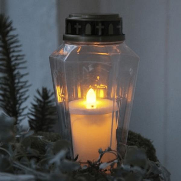 """LED Novenkerze """"Serene"""" - Grabkerze - flackernde warmweiße LED - H: 15,5cm - weiß/gold - 10er Set"""
