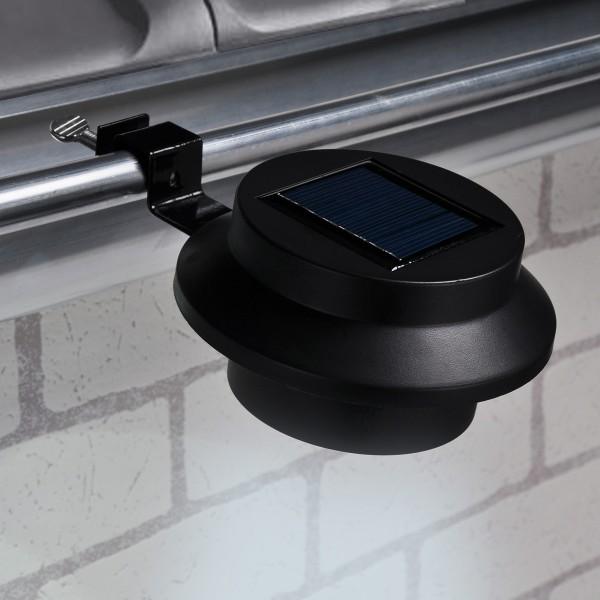 LED Solarleuchte mit Klammer - Dachrinnenleuchte - 3 weiße LED - An-/Ausschalter - schwarz - 2er Set