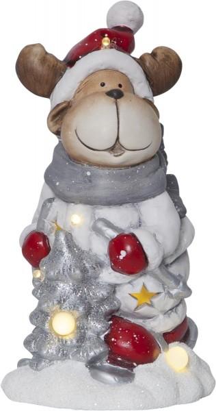 "LED-Keramik-Figur ""Friends"" - Rentier - rot/weiss/silber/grau - 6 warmweiße LEDs - ↑23cm"