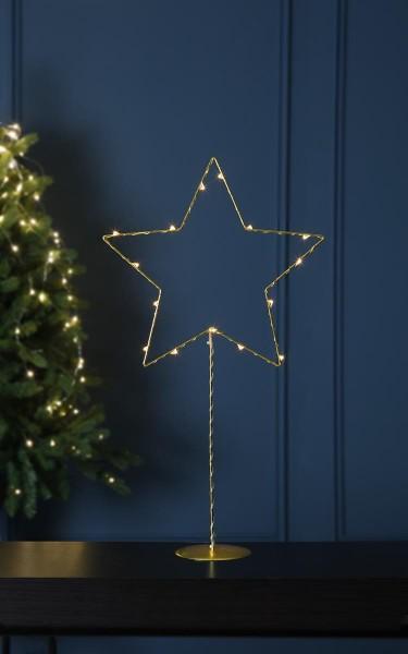 "LED-Metallstern ""Sparkling"" - 15 warmweiße LEDs - H: 60cm - Batteriebetrieb - Timer - gold"