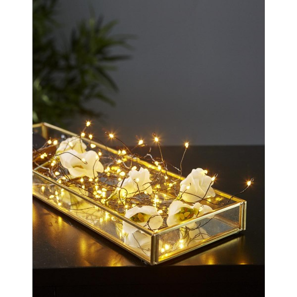 LED-Draht-Kette - 80 warmweiße LEDs- schwarzer Draht - 4,8m - Batterie - Timer