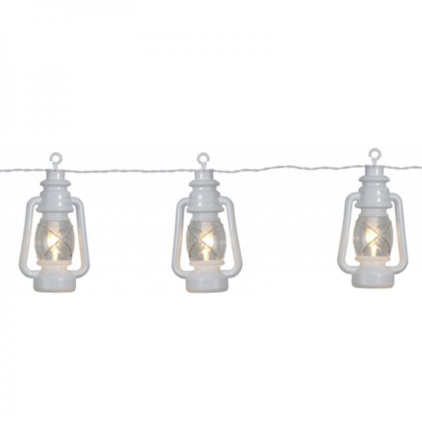 """LED Lichterkette """"Laterne"""" - 8 weiße Laternen mit warmweißer LED - L: 2,8m - outdoor - mit Haken"""