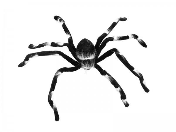 Pelzige Halloween Spinne 70x14x5cm - biegsame Beine, schwarzes Fell mit weißen Büscheln