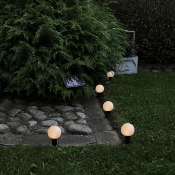 """LED Solarlichterkette """"Globus"""" - Erdspieß - 6 warmweiße LED - L: 5m - Dämmerungssensor"""
