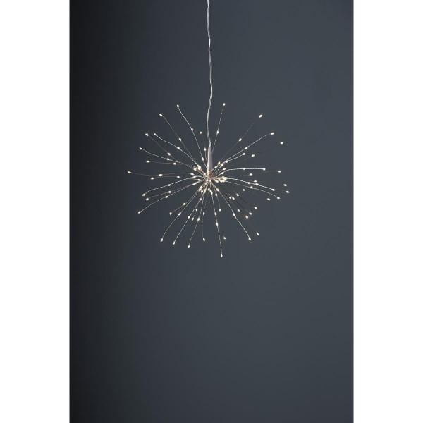 "3D-LED-Hängestern ""Firework"" -120 warmweiße LED - silber - D: 26cm - Material: Metall"
