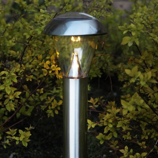 LED Solar Wegleuchte NAPOLI - Edelstahl - warmweiße LED - H: 36cm - Dämmerungsensor - silber