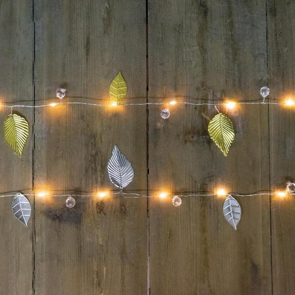 LED Drahtlichterkette mit silbernen Blättern und Perlen - 20 warmweiße LED - Batteriebetrieb -