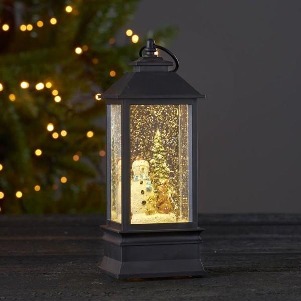 """LED Laterne """"Winter"""" - mit Schneemann - glitzernde Flocken - H: 23cm - Batterie - Timer - schwarz"""