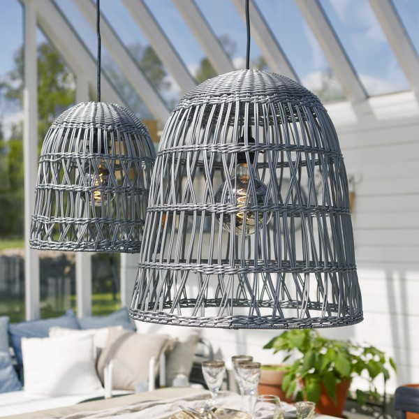 Lampenschirm KNUTE wetterfest - für E27 Fassungen - grau - D: 48cm - H: 50cm