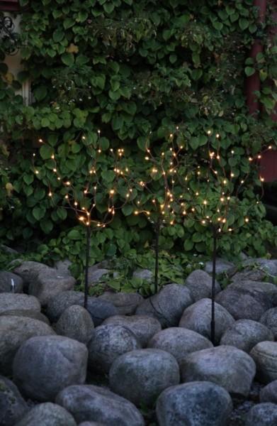 3er Set LED-Lichtbaum - 0,90m - je 40x warmweie Micro-LEDs - Trafo - ganzjährige Gartendekoration