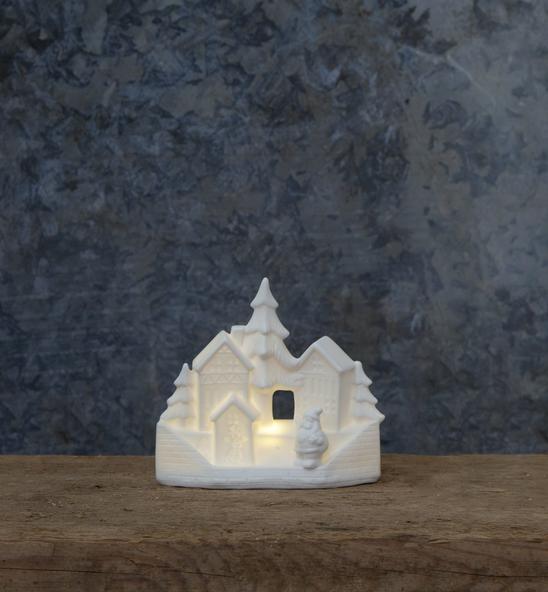 "LED Haus ""Vinter"" - Santa im Dorf - 1 warmweiße LED - H: 14cm - Batteriebetrieb - weiß"
