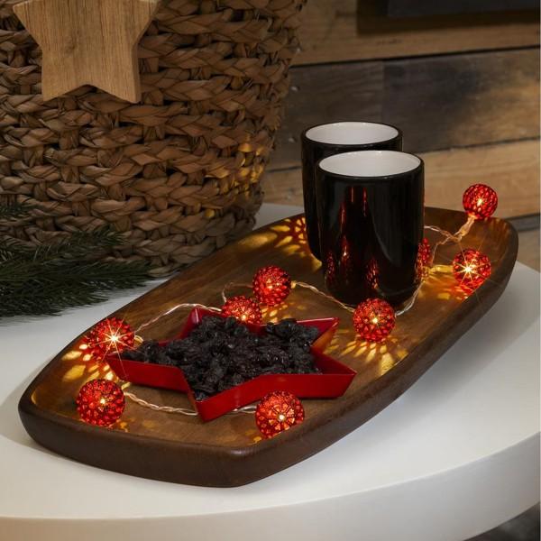 LED Dekolichterkette rote Metallkugeln - 10 warmweiße LED - D: 2,5cm - L: 0,9m - Batterie - indoor
