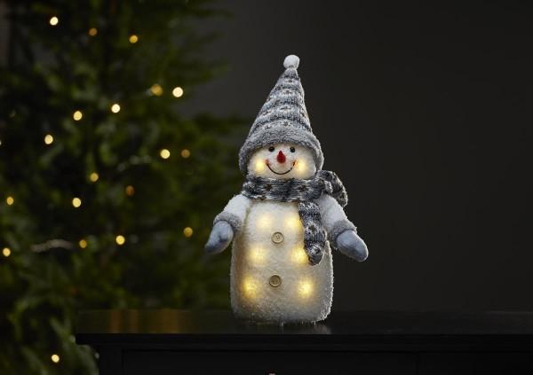 "LED-Stoff-Figur ""Joylight"" - Schneemann - graue Mütze & Schal - 8 warmweiße LEDs - ↑38cm"