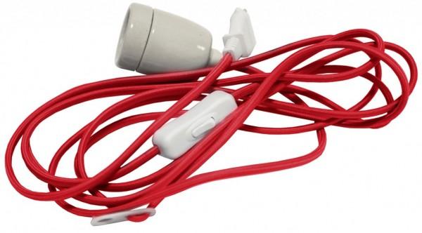Lampenhalterung - für Leuchtsterne - Textil-ummantelt - E27 - 5,00m - Rot
