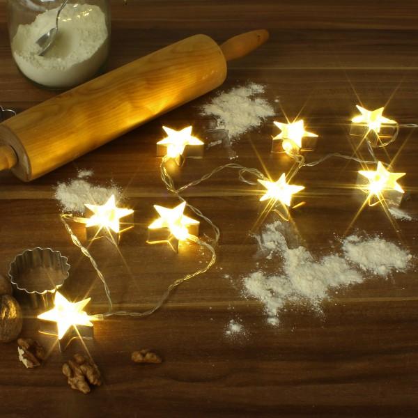 LED Lichterkette mit silbernen Stern Backförmchen - 8 warmweiße LED - Batteriebetrieb - L: 1,4m