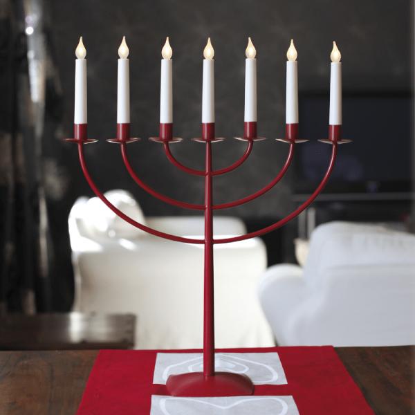 LED Kerzenleuchter MARCIA - 7 Arme - warmweiße LEDs - H: 57cm - Schalter - rot