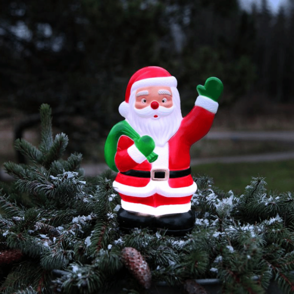 LED-Steckfigur, Stehfigur Santa - 5 kaltweiße LED - H: 28cm - Timer - Batteriebetrieb - Outdoor