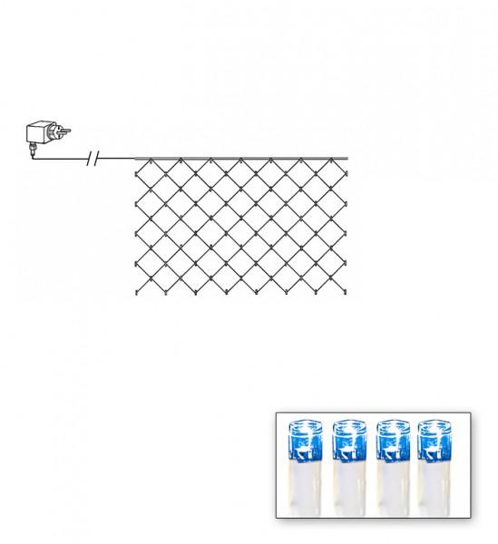 LED-Lichternetz | Serie LED | Outdoor | Transparentes Kabel | blaue LED | 1.00m x 2.00m | 90x LEDs