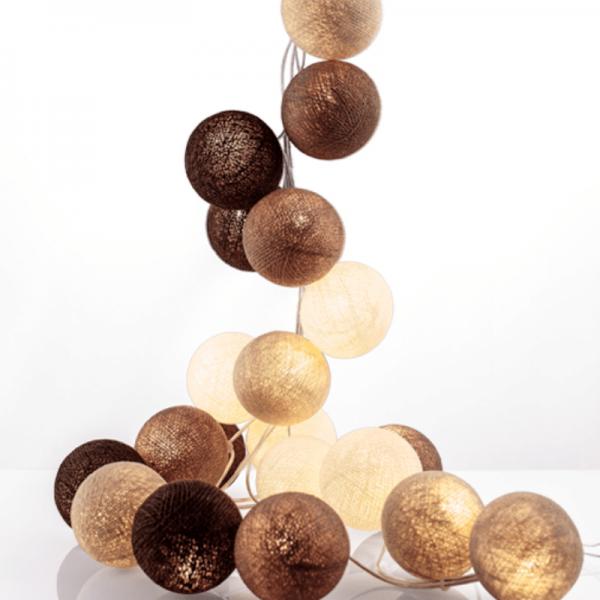 good moods* KAFFEPAUSE - Ball-Lichterkette mit 20 Stoffkugeln - 20 warmweiße LEDs - Geschenkkarton