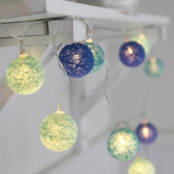 LED Ball Lichterkette SISAL - 10 beleuchtete Bälle - 2,1m - Batterie - Timer - blau/grün