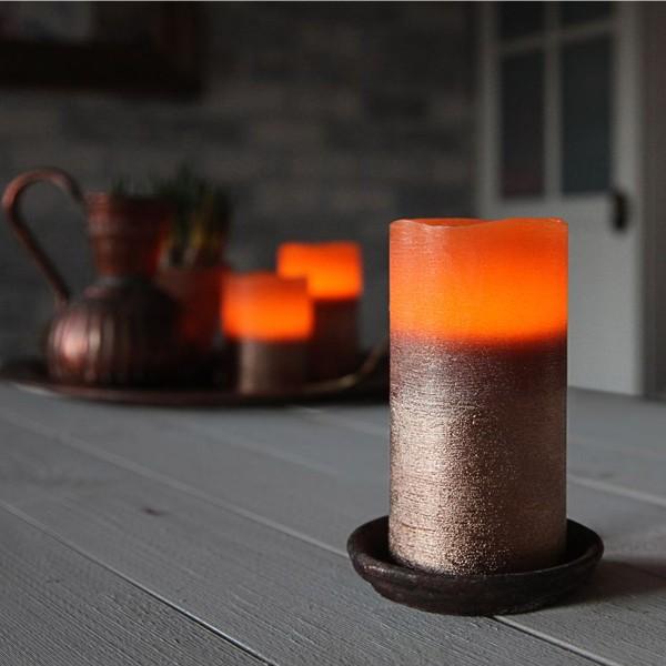 LED Kerze COOPER - Echtwachs - geschwungene Oberkante - flackernd - Timer- H: 12,5cm D: 7,5cm