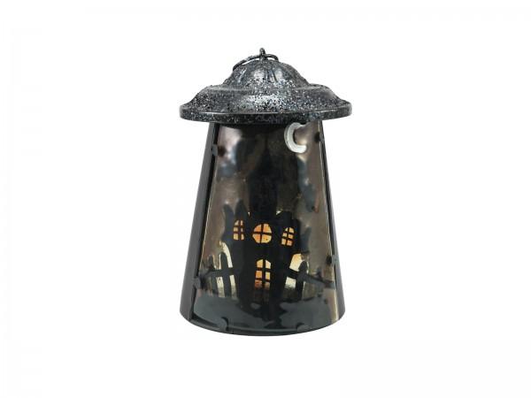 """Laterne """"Spukschloss"""" aus Metall - 23cm - mit Glasscheibe - für große Teelichter oder LED Kerzen"""