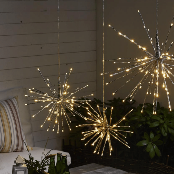 "3D-LED-Hängestern ""Firework"" - D: 30cm - golden mit 64 warmweißen LED - Programme - Outdoor"