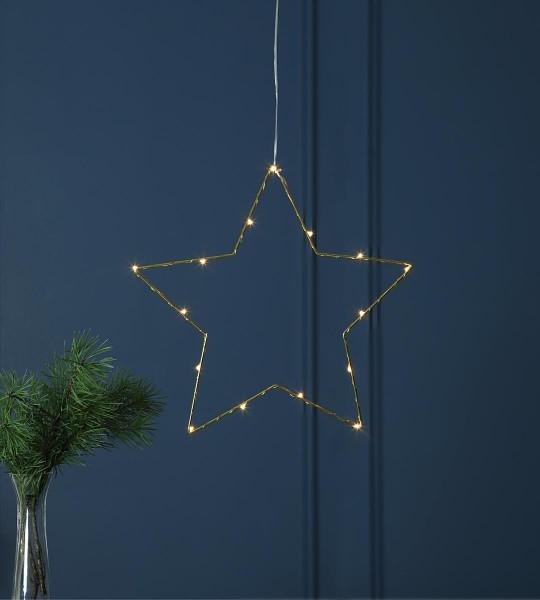 "LED-Metallstern ""Sparkling"" - 15 warmweiße LEDs - Ø 37cm - Batteriebetrieb - Timer - gold"