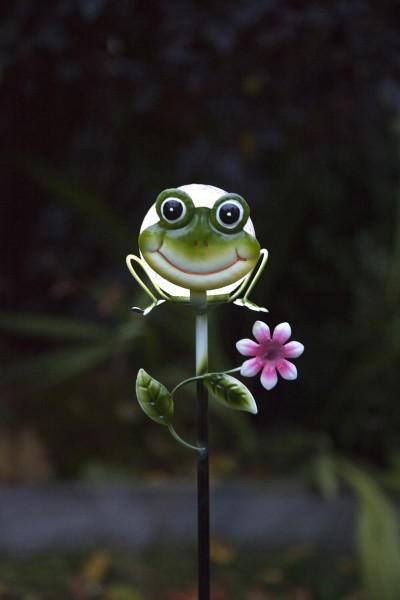 """LED-Solarstab """"Froggy""""- grün - weiße LED in Glaskugel - H: 83cm - D: 13cm - Dämmerungssensor"""