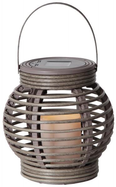 "LED-Solar-Laterne ""Rotang"" - grau mit warmweißer LED - 16x16x16cm - Dämmerungssensor 1"