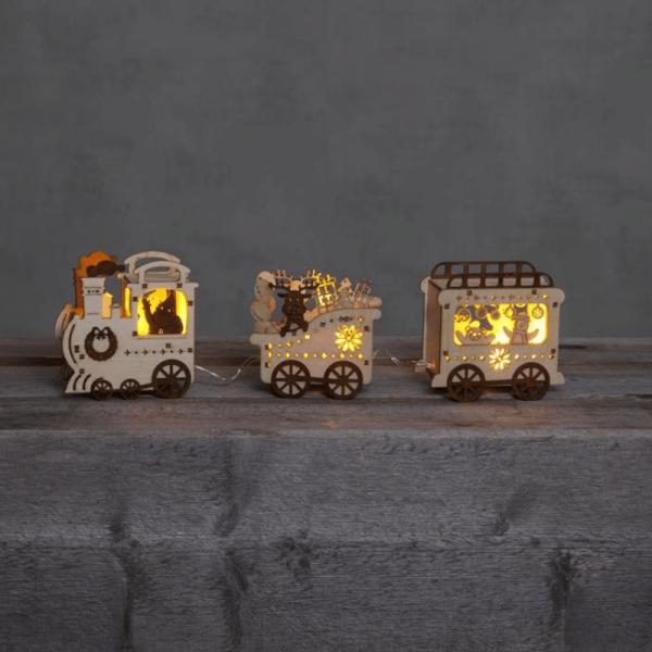 LED-Dekoleuchte Weihnachtszug mit Tieren - 3 warmweiße LED - H: 11cm - Batteriebetrieb - Timer